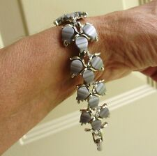 PRETTY THERMOSET STEEL GREY SILVER TONE WIDE BRACELET-UNSIGNED-LISNER-RETRO