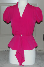 NWT Eva Mendes New York & Company Women's 100% Polyester Pink Shirt Blouse XS