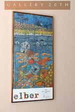 MID CENTURY MODERN ELBER BATIK POSTER! OTTER MOON! CARMEL BY THE SEA! Art Vtg CA