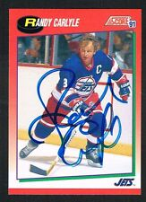 Randy Carlyle #125 signed autograph 1991-92 Score Hockey Canadian Release Card