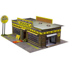1/64 Slot Car HO Motorcycle Shop Photo Real Kit Race Track Layout Accessories