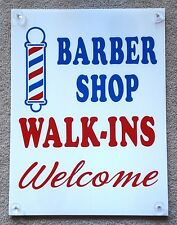 BARBER SHOP WALK-INS WELCOME  Window SIGN with 4 Suction Cups  18x24