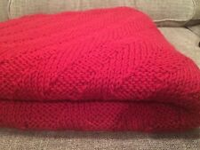 NEW! Handmade Beautiful 100% Wool Red Cranberry Knitted Blanket Warm & Cozy