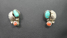 Native Style Sterling Silver Turquoise & Coral Traditional Earrings