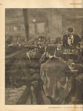 The Smoking Room Of An Atlantic Steamer by Thulstrup. w/Text, 1882 Antique Print