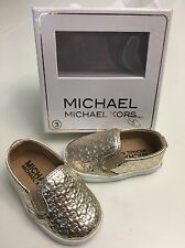 """New In Box! Michael Kors """"BABY IVY ALLI"""" Baby Girls Flat Infant Size 3 Gold"""