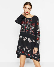 ZARA NEW FLORAL EMBROIDERED DRESS SIZE XS UK 6