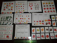 10 Fall themed Preschool Daycare laminated learning games.  110lb card stock lam