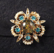 Vtg Dragon's Breath Glass/Clear & Aqua Rhinestone Faux Pearl Flower Brooch Pin