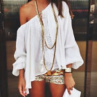 Sexy Women's Lady White off-shoulder Top Casual Tops Blouse Beach T-shirt Loose
