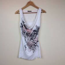 Ladies Jane Norman Pink White Vest T-shirt Top Roses Sparkly sequins Size 8 (N)