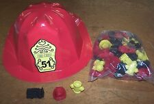 12 Plastic Fireman Hats & 50 Assorted Pencil Top Erasers Party Favor