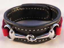 Amish Handmade Leather Red Black Horse Snaffle Bit Equestrian Bracelet USA