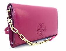 NWT TORY BURCH CHARLIE PARTENT LEATHER CLUTCH CROSS BODY FLAT WALLET RASBERRY