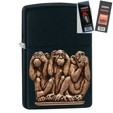 Zippo 29409 3 Monkeys No Evil Lighter with *FLINT & WICK GIFT SET*