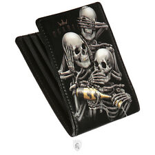 OG Abel See No Skeleton Skull Tattoo Art 3 Monkeys Goth Punk Blk Wallet WTBF004
