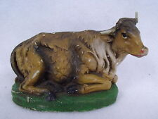 Vintage Paper Mache Italy Cow Steer W/Wire Horns Christmas Village Nativity