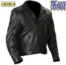 Mens $350 Naked Leather Armored & Vented Motorcycle Jacket 4XL On Sale $199.95