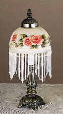 "Bead Fringe Glass Shade VICTORIAN LAMP 13""h Apricot Pink Roses 40w Accent Light"