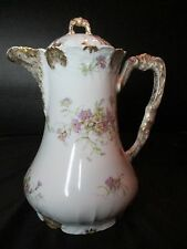 A & D Limoges France #2651 Coffee Pot Chocolate Teapot Gold Trim Ice Lip