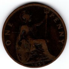 1899 QUEEN VICTORIA ONE PENNY 1d - BUN HEAD COIN (c)