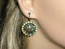 LIZ PALACIOS ANTIQUE BRASS,LIME & SIM.GREEN OPAL SWAROVSKI CRYSTALS EARRINGS