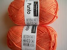 Schachenmayr Nomotta Punto cotton blend yarn, Mandarin, lot of 2 (99 yds each)