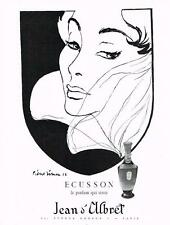 PUBLICITE ADVERTISING  1952   ECUSSON  parfum  JEAN D'ALBRET signé Pierre Simon