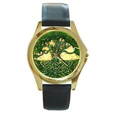 MYSTIC CELTIC TREE DESIGN GOLD-TONE WATCH LEATHER BAND