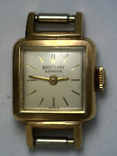 Antique BREITLING Geneve Swiss 17 Jewel Yellow Gold GP Wrist Watch Working #W115