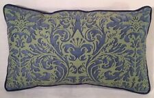 "Fortuny Sevres Prune Blue and Green Cotton Designer Pillow 14""x 21"""