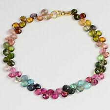 "14K Solid Gold Green Blue Pink Purple Tourmaline Heart Bead 7.25"" Bracelet"