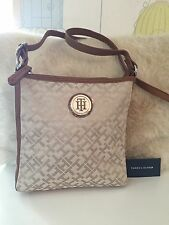 New Tommy Hilfiger Beige & Tan Jacquard Cross Body Bag/Purse