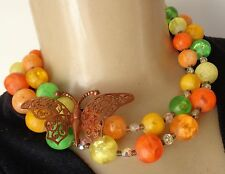 Vintage Fruit Salad Layered Lucite Bead Necklace & Filigree Butterfly Brooch Lot