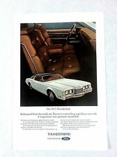 Vintage 1972 Ford Thunderbird Original Print Ad Automobile Car