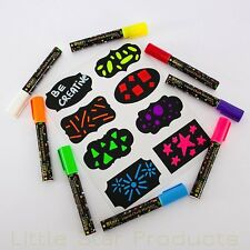 Liquid Chalk Markers Pens White Dry erase Thin Fine Chisel Bold Neon Color Kids