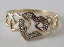 100% Genuine Vintage 9ct Solid Yellow & White Gold & Diamonds Heart Ring Sz 6