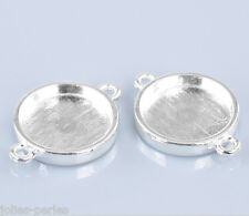"20 Silver Plated Round Cabochon Setting Connectors 26x19mm(1""x6/8""),Fit 16mm Dia"
