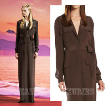 $1,850 GUCCI LONG DRESS BROWN SILK BUTTON-DOWN MAXI SHIRT STYLE GOWN sz 44 /US 8