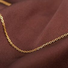 "Pure Solid 18K Yellow Gold Necklace Women Thin O Link Chain Necklace 1g/ 17.7"" L"