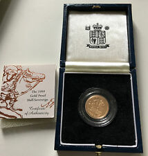 1999 UNITED KINGDOM GOLD PROOF HALF SOVEREIGN BOXED COIN CERTIFICATE AUTHENTICTY