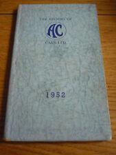 Rare AC CARS HISTORY BROCHURE BOOK 1952 jm