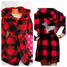 Victoria's Secret PINK Bling Sequin Dog~Hooded Robe~Red/Black Buffalo Plaid~M/L