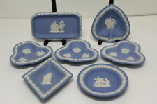 Set of 7 Vintage Stamped Blue w/ White Designs Wedgwood Jasperware Small Plates