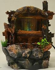 Indoor Table Top Electric Water Fountain Water Wheel 4Color Changing LED Lights