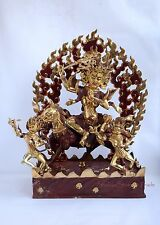 "21"" Palden Lhamo Copper Statue Gold Gilded with Face Painted Hand Carved Patan"