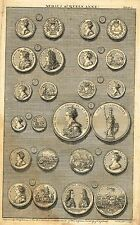"""""""Medals of K. William and Q. Mary"""" from Rapin's HISTORY OF ENGLAND  Pl. I - 1745"""
