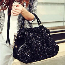 Women Large Bling Sequins Handbag PU Leather Tote Shoulder Bag Purse Satchel Hot
