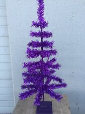 4ft PURPLE CHRISTMAS FEATHER TREE TINSEL TABLETOP CENTERPIECE 48""