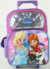 "NEW DISNEY FROZEN 16"" LARGE ROLLING BACKPACK BAG FOR GIRLS KIDS SCHOOL ROLLER"